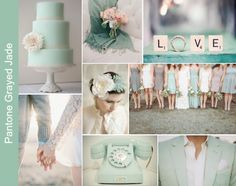Pantone Grayed Jade Wedding Inspiration Board. Colors would look good with a white and dusty miller floral, silver linen reception with candle light