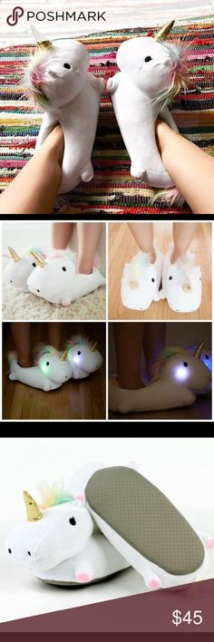 🦄 Light Up Unicorn Slippers 🦄 Brand New! Never Worn still sealed in its plastic. Makes a great 🎁 gift. Tags: dollskill, unif, edc, Lisa frank Shoes Flats & Loafers