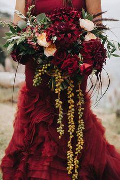 Rustic Fall Big Sur wedding: Lindsay + Andrew Classy Halloween Wedding, Halloween Wedding Dresses, Red Wedding Dresses, Wedding Colors, Wedding Bouquets, Wedding Flowers, Halloween Weddings, Wedding Gowns, Bridesmaid Dresses