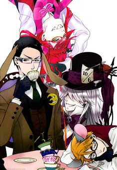 Ciel In Wonderland - Grell Sutcliff as The Cheshire Cat, William T. Spears as The March Hare, and Undertaker as The Mad Hatter