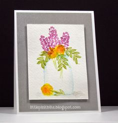 handmade card from Pink Bike blog ... original watercolor ... flowers in a jelly jar ... gray mat ... luv it!