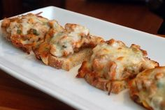 Three-Cheese Crostini with Italian Sausage - Wow!  Super easy and tasty!  Nice combination!