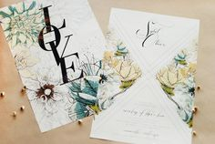 Floral Poster Wedding Invitation Umama4 Sybil + Olivers Floral Poster Wedding Invitations