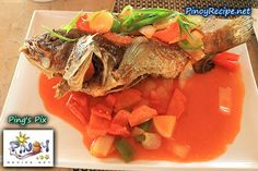 Lapu-lapu Escabeche Recipe is made by deep frying a whole fish of Lapu-lapu or Red grouper fish or any kind of meaty fish, and topping with sweet and sour sauce with vegetables.    Read more: http://www.pinoyrecipe.net/lapu-lapu-escabeche-recipe/