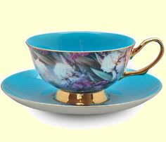Turquoise Satin Shelley Bone China Tea Cup in Gift Box