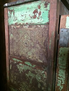 1800's Antique pie safe. Has great patina and Green chippy paint. Very well worn. Ye Olde Crow Primitives