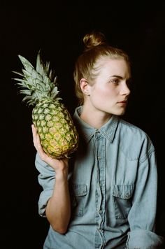 Meredith with pineapple.