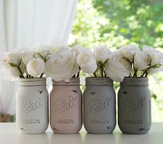Chalk painted Mason Jars  Various Sizes