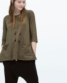 ZARA - WOMAN - T-SHIRT WITH POCKETS