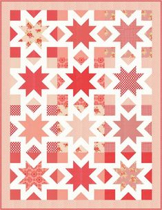 """Star Kisses   Craftsy. A simple fat quarter quilt with 18"""" blocks perfect for showcasing large scale fabrics. Modern star quilt. Sawtooth star quilt pattern. Affiliate link with Craftsy."""
