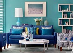 Lagoon Blue Living Room with Lime Green Accents