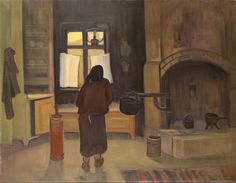 Morning in a Peasant House Painting - Eero Aleksander Nelimarkka (1891–1977)