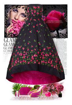 Rosey Gown by nansg on Polyvore featuring Oscar de la Renta, Judith Leiber, Hervé Gambs, Lancôme and Christian Louboutin