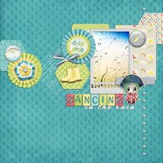 Dancing in the rain. This digital scrapbooking page was created using Rain, Rain Bundle by Sheila at Pixel Scrapper.