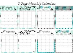 Beautiful calendar pages for your planner