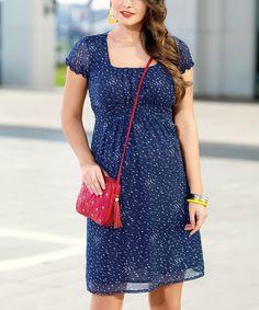 Love this Navy Blue Bird Maternity Empire-Waist Dress on #zulily! #zulilyfinds