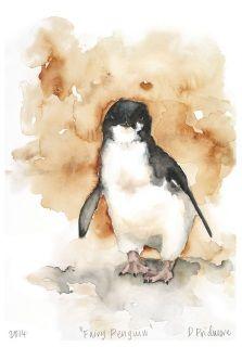 Australian wildlife art prints. Fairy Penguin. Watercolour. Available from infromthewild.com.au