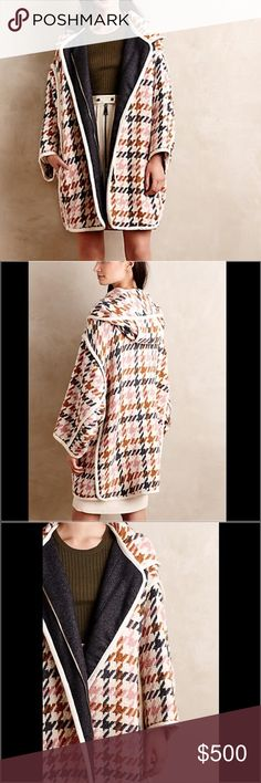 "Anthropologie Oversized Houndstooth Coat Did someone say downtown Parisian chic?! Houndstooth Wool Coat by Paul & Joe Sister, A diffusion line of the cult-fave French label, Paul & Joe Sister takes its vintage-inspired, clean-lined cues from the Left Bank. Wool, polyamide Side pockets and hooded. A true cozy chic delight! Zip front Dry clean Made in France 🇫🇷 Zipper and snap closure 34"" L and 28"" underarm to underarm. Anthropologie Jackets & Coats"