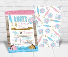 Fishing Gender Reveal Invitation, Lures or Lace Gender Reveal Invitation Printable, Fishing Gender Reveal Party Invite, Fish Gender Reveal Gender Reveal Party Invitations, Party Invitations Kids, Printable Birthday Invitations, Personalized Invitations, Party Printables, Reveal Parties, Custom Items, Invitation Design, Lace