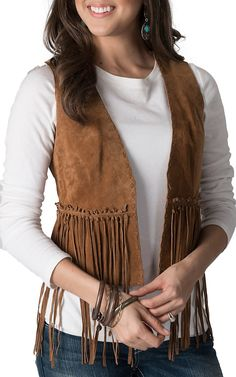 Cripple Creek Women s Cognac Suede Hand Laced with Fringe Vest Chaleco  Vaquero Mujer c752002bfe30