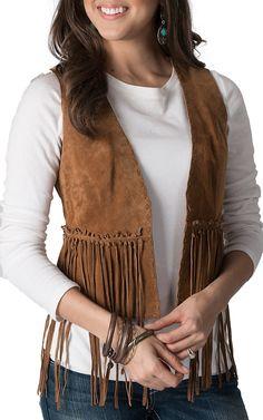 Cripple Creek Women's Cognac Suede Hand Laced with Fringe Vest