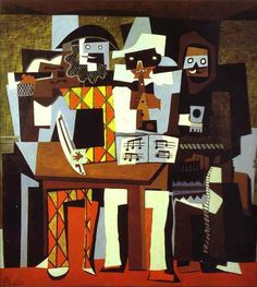 "Several types of visual elements are repeated and varied in a virtual dance of color and pattern. ""Tres músicos"". Picasso, Fontainebleau, verano de 1921."