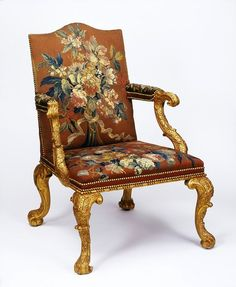 This carved & gilded armchair, upholstered in tapestry, was the height of luxurious style in England, c 1750. Made by firm of Wright & Elwick for William Wentworth, 4th Earl of Strafford, for Wentworth Castle. Victoria & Albert Museum.