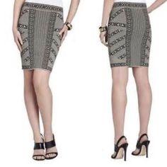 Reserved bundle for Erin  Bcbg skirt, express peplum black top, and guess denim vest BCBGMaxAzria Skirts Pencil