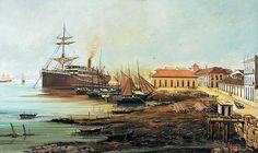 BENEDITO CALIXTO - Carregamento de navio no Porto de Santos Guache sobre cartão