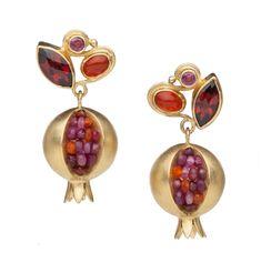 Boline Strand. Earrings: Pomegranate Primadonna Earrings. 18k, 14k, and 22k yellow gold, ruby, carnelian, garnet, amethyst, ink sapphire, carnelian.