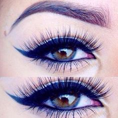 Winged liner - for longer eyes pull the wing out rather than up.