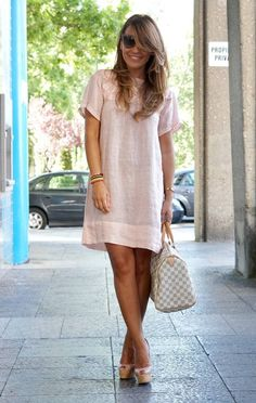 Zara Light Pink Linen Loose Tee Dress