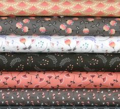 Peach, Orange, Black, Gray, and White Cotton Quilt Fabric Bundle, Camelot Fabrics' Make a Wish Collection, Fat Quarter, Fabric by the Yard by fabric406 on Etsy