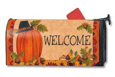 Magnet Works Mailwraps Mailbox Cover - Pilgrim Pumpkin Design Magnetic Mailbox C