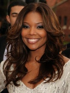 chocolate brown hair color on black women | Gabrielle Union with Light Brown Hair                                                                                                                                                      More
