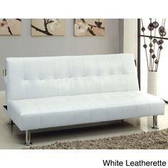 Furniture of America Modern Tufted Futon/Sofabed with Storage Pockets (White Leatherette), Size Full