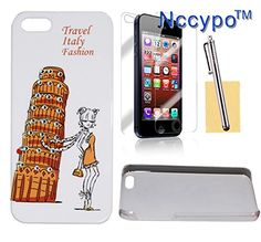 Nccypo Travel Italy Fashion the Leaning Tower of Pisa and Fashion Girl Bling Rhinestone Diamond Hard Back Cover Case Compatible for iphone 5/ 5S, Include Screen Protectors, Stylus and Cleaning Cloth. Studded with some crystal bling rhinestones. Decorated with the Leaning Tower of Pisa and Fashion Girl design. All buttons, control and ports are easily and conveniently accessible. Offers all-around external surface protection without compromising usability. All products listed by Nccypo are...