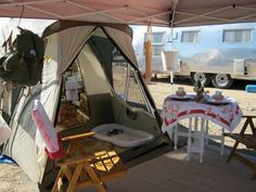 Great set up. Tent with an easy-up