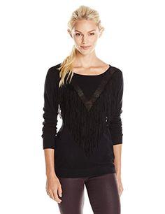 Ella Moss Women's Ravi Pull Over Fringe Sweater, Black - http://www.womansindex.com/ella-moss-womens-ravi-pull-over-fringe-sweater-black/