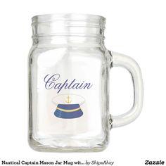 Nautical Captain Mason Jar Mug with Captain's Hat