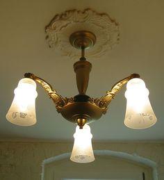 ART DECO antike Decken Hänge Lampe 3arm ALU gold orig. um 1930