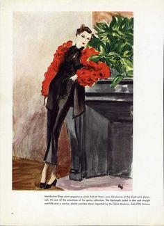 Mainbocher Fashion Page BY Eric 1936 Shows Black Satin Dinner Suit   eBay