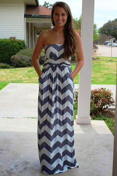 Grey Chevron Maxi Dress
