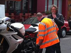 James May – BBC's Top Gear  Moments after someone tried to steal his 2012 Triumph Daytona