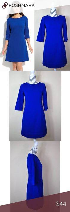"🌷Eliza J Solid Royal Blue Ponte Knit Shift Dress Excellent Pre-loved Condition! Eliza J Women's Solid Royal Blue Ponte Knit Shift Dress w/ 3/4 Sleeves   Size: Women's  4 Measured laying down flat: 34.5"" long, 17"" across bust, 16"" across waist, 19.5"" across hips, 16.5"" long sleeves Material: 65% Polyester + 35% Rayon + 2% Spandex / Lining 100% Acetate Description: Hidden zipper in the back, 3/4 sleeves, completely lined, front pockets, classy and elegant dress  Comes from a Smoke Free Home…"