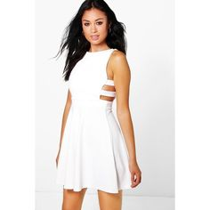 Boohoo Roxey Textured Cut Out Skater Dress ($26) ❤ liked on Polyvore featuring dresses, white, sequin cocktail dresses, white slip dress, white tuxedo, party dresses and white cocktail dresses