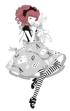 An Alice in Wonderland-like Angelic Pretty illustration by Imai Kira / 今井キラ. Via Tumblr. #gothic #lolita