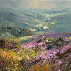 "Rex Preston - ""August Moorland, Near Hathersage"" Abstract Landscape, Landscape Paintings, Impressionist Paintings, Traditional Paintings, Pastel Art, Beautiful Paintings, Love Art, Painting Inspiration, Watercolor Art"