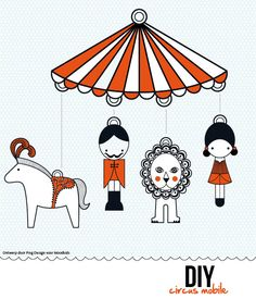 Leerkrachten staken ofwel een extra dag voor dochter en mij om te gaan fröbelen. Dochter wilde een paard kleuren. En ik? Toen ik de DIY circus mobile zag, wist ik wat ik wilde maken: http://djello-maureen.blogspot.com/2012/03/diy-circus-mobile.html