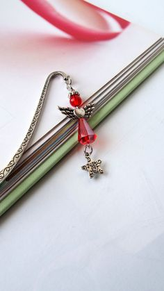 Angel Bookmark Red Guardian Angel Charm by VitezArtGlassDesign